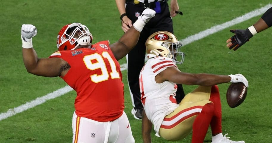 Derrick Nnadi of the Kansas City Chiefs celebrates a tackle against the San Francisco 49ers in Super Bowl LIV on Feb. 2, 2020.