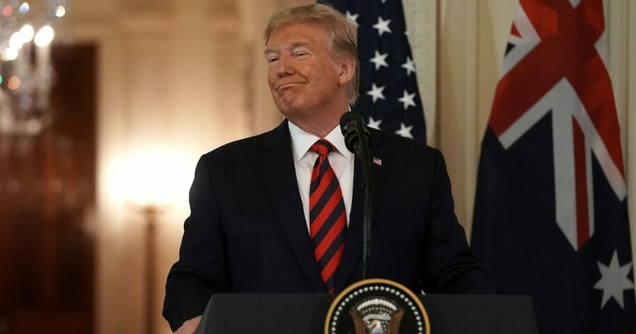 President Donald Trump participates in a joint news conference with Australian Prime Minister Scott Morrison in the East Room of the White House on Sept. 20, 2019 in Washington, D.C.