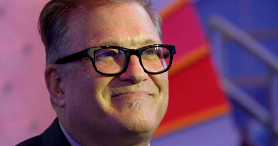 Actor/comedian Drew Carey speaks to an interviewer during the Global Gaming Expo at the Sands Expo and Convention Center on Oct. 10, 2018, in Las Vegas, Nevada.