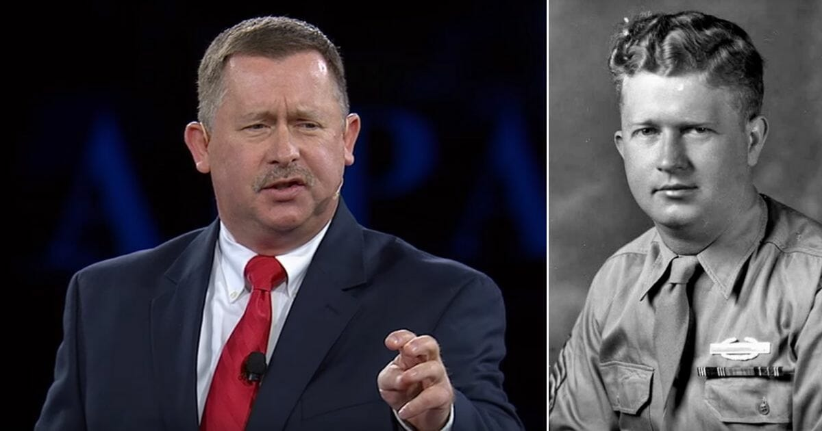Pastor Chris Edmonds, left, and his father, Roddie, right, who stood up to the Nazis to save hundreds of Jewish soldiers from being sent to their deaths.