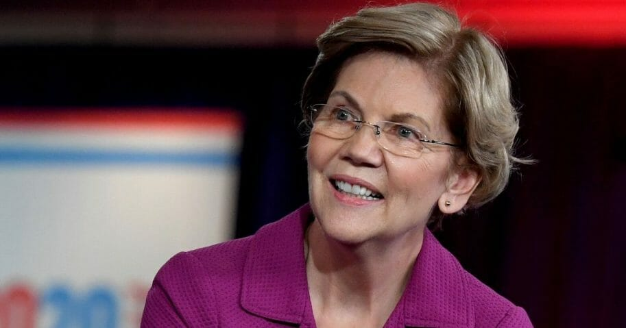 Democratic presidential candidate Sen. Elizabeth Warren (D-Massachusetts) is interviewed on MSNBC inside the spin room at Bally's Las Vegas Hotel & Casino after the Democratic presidential primary debate on Feb. 19, 2020, in Las Vegas, Nevada.
