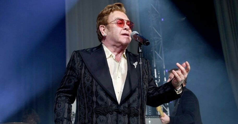 Elton John performs onstage at the 28th Annual Elton John AIDS Foundation Academy Awards Viewing Party on Feb. 9, 2020, in West Hollywood, California.