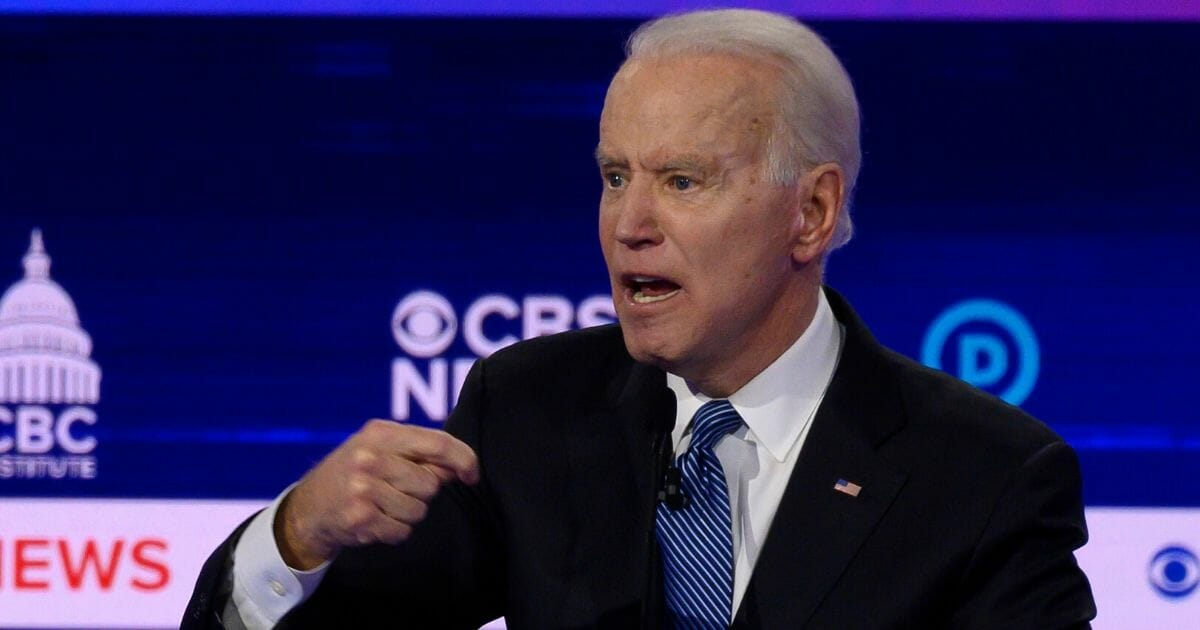 Democratic presidential hopeful former Vice President Joe Biden participates in the tenth Democratic primary debate of the 2020 presidential campaign season co-hosted by CBS News and the Congressional Black Caucus Institute at the Gaillard Center in Charleston, South Carolina, on Feb. 25, 2020.