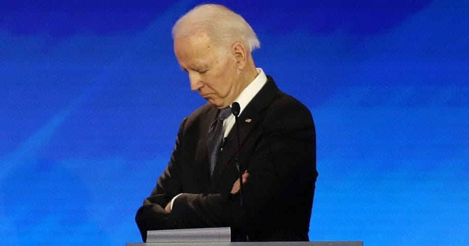 Democratic presidential candidate former Vice President Joe Biden participates in the Democratic presidential primary debate in the Sullivan Arena at St. Anselm College on Feb. 7, 2020, in Manchester, New Hampshire.