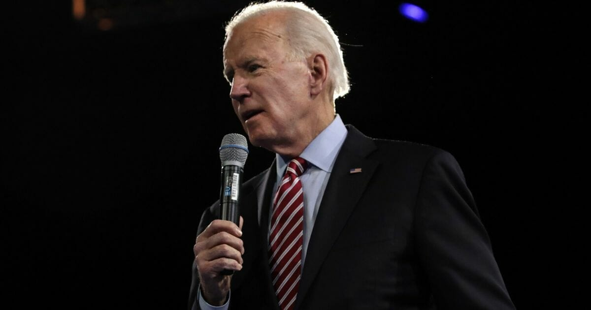 Democratic presidential candidate former Vice President Joe Biden speaks during the 100 Club Dinner at SNHIU on Feb. 8, 2020, in Manchester, New Hampshire.
