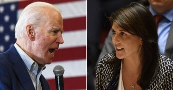 Democratic presidential candidate and former Vice President Joe Biden, left, and former U.N. Ambassador Nikki Haley, right.