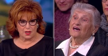 "Holocaust survivor Millie Baran, right, responds to a question from ""View"" host Joy Behar, left."