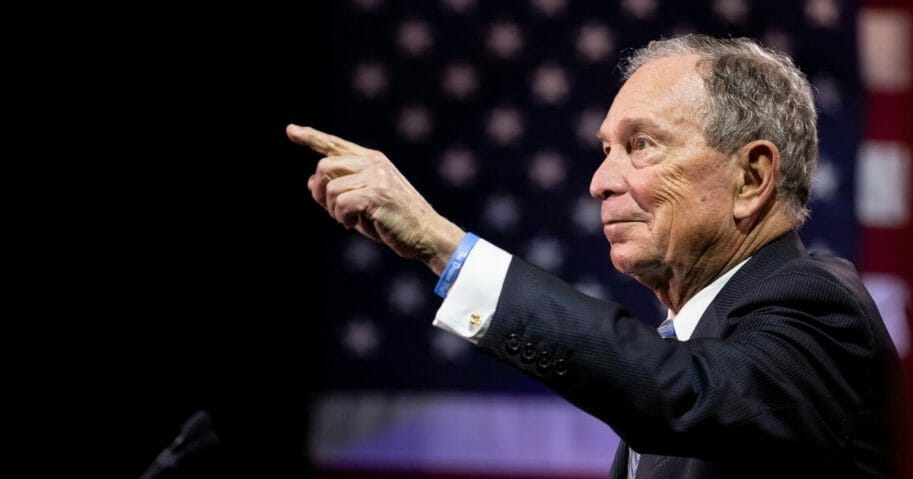 Democratic presidential candidate former New York City Mayor Mike Bloomberg delivers remarks during a campaign rally on Feb. 12, 2020, in Nashville, Tennessee.