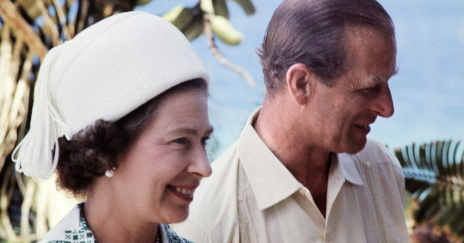 Britain's Queen Elizabeth II and her husband, Prince Philip, Duke of Edinburgh, visit the New Hebrides Condominium, now Vanuatu, in February 1974.