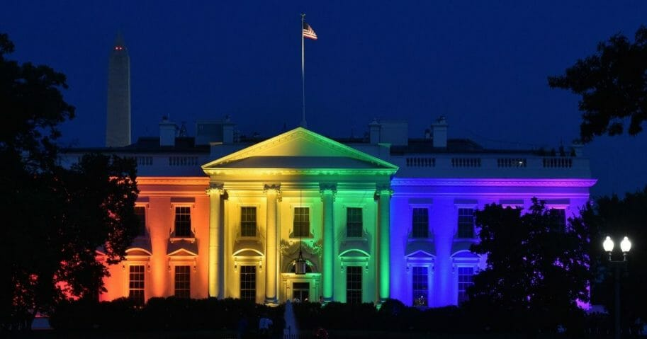 The White House is lightened in the rainbow colors in Washington on June 26. 2015.