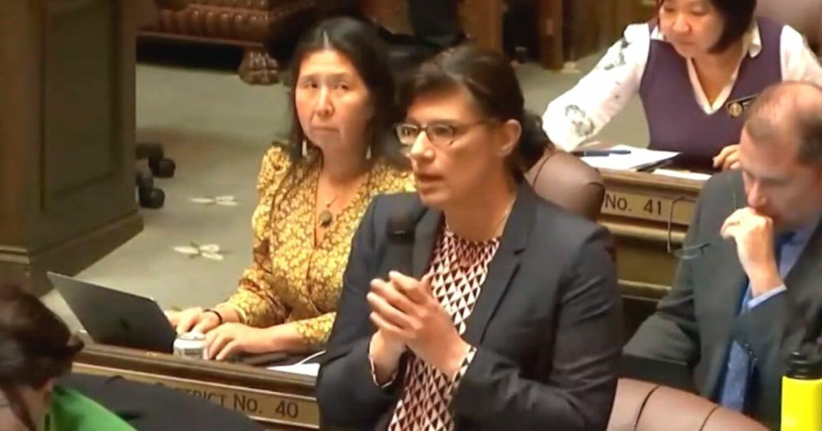 Democratic Washington state Rep. Nicole Macri speaks on behalf of her HIV legislation.