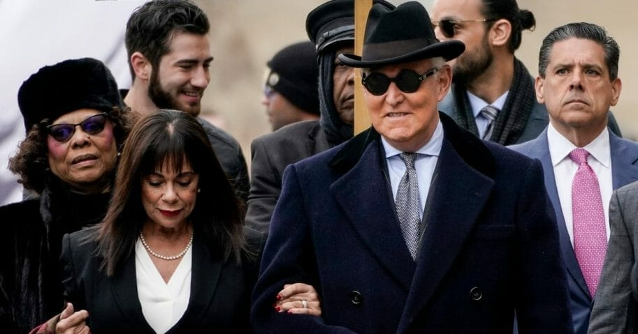 Roger Stone and his wife, Nydia, arrive at the E. Barrett Prettyman U.S. Courthouse in Washington on Feb. 20, 2020.