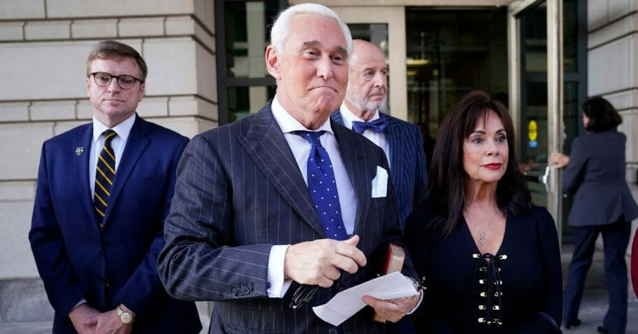 Former Donald Trump adviser Roger Stone and his wife, Nydia, leave the E. Barrett Prettyman U.S. Courthouse on Nov. 15, 2019.