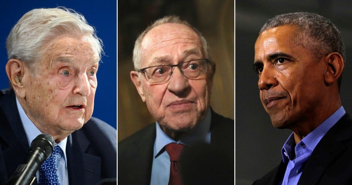 George Soros, Alan Dershowitz and Barack Obama.