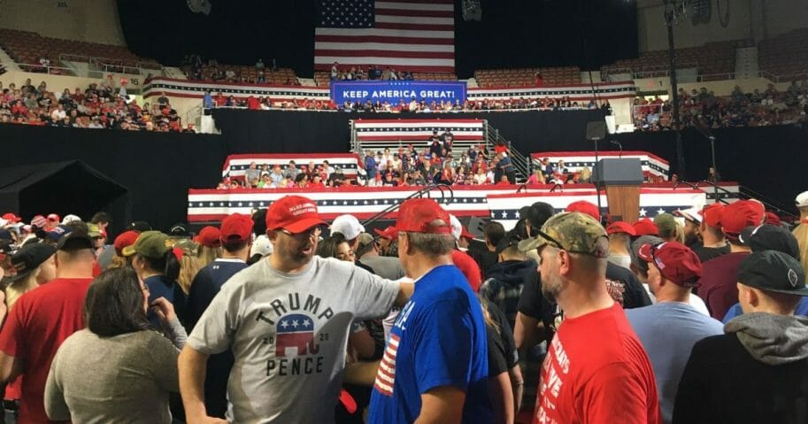 Attendees begin to fill Arizona Veterans Memorial Coliseum in Phoenix
