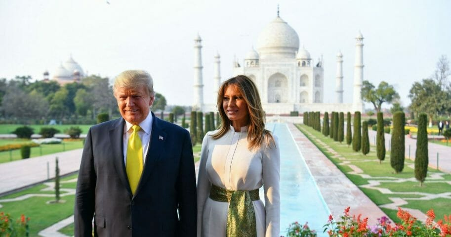 President Donald Trump and first lady Melania Trump pose during their visit the Taj Mahal in Agra, India, on Feb. 24, 2020.