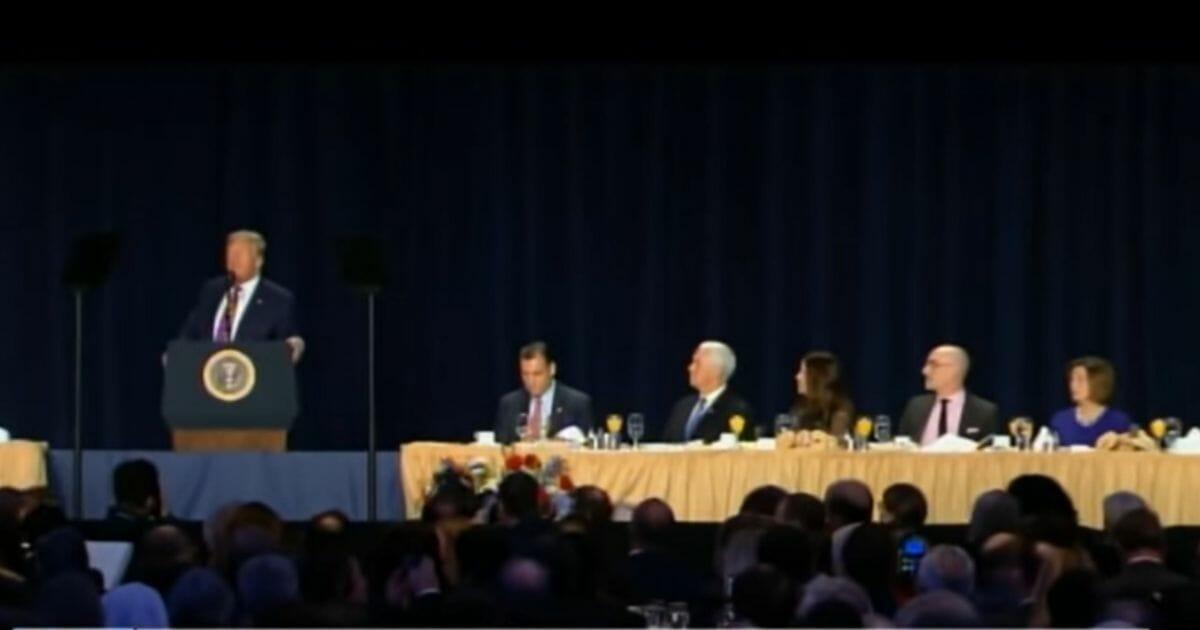 President Donald Trump gives a speech at the National Prayer Breakfast.