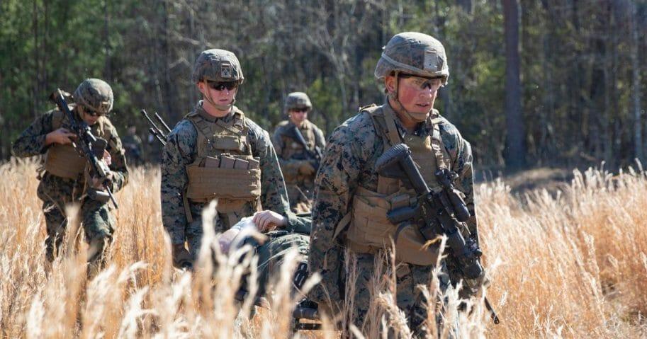 U.S. Marines conduct a training exercise at Camp Lejeune, North Carolina, on Jan. 30, 2020.