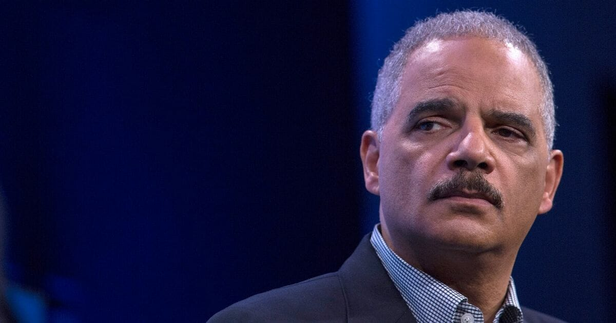 Former Attorney General Eric Holder speaks during an interview at The Washington Post on Feb. 27, 2018, in Washington, D.C.