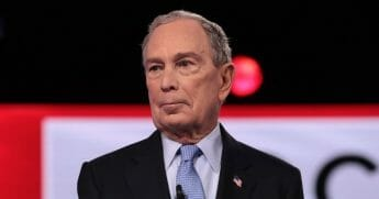 Democratic presidential candidate former New York City Mayor Michael Bloomberg on stage at the Democratic presidential primary debate at the Charleston Gaillard Center on Feb. 25, 2020, in Charleston, South Carolina.