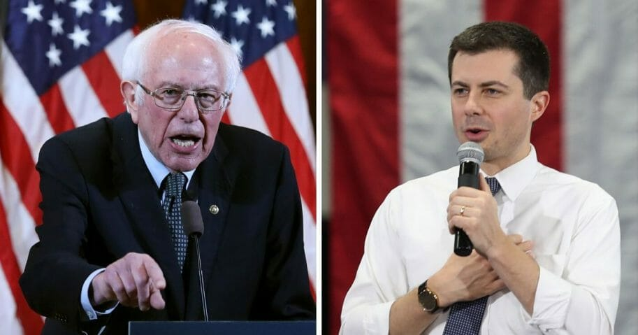 Vermont Sen. Bernie Sanders, left; and former South Bend, Indiana, Mayor Pete Buttigieg, right.