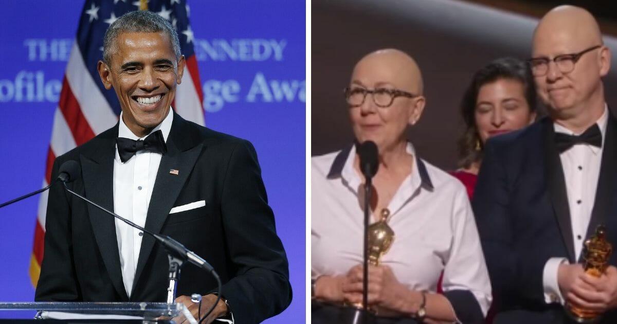 Former President Barack Obama, left; and documentary makers Julia Reichert and Steven Bognar, right.