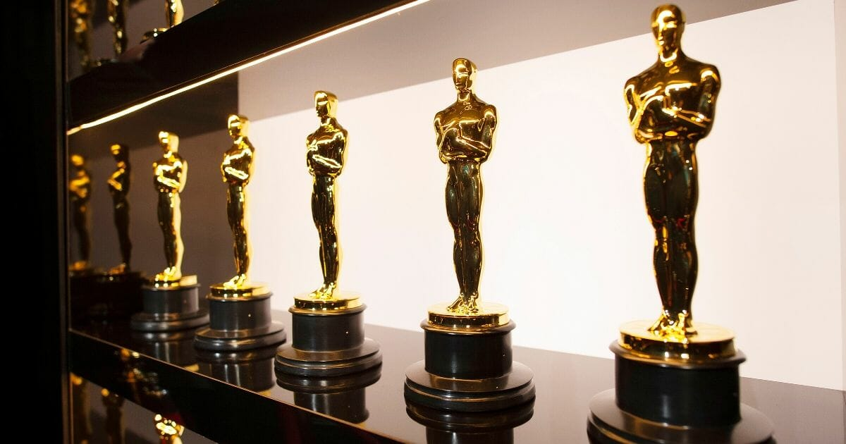 Oscars statues are pictured backstage Sunday at the Academy Awards in Los Angeles.