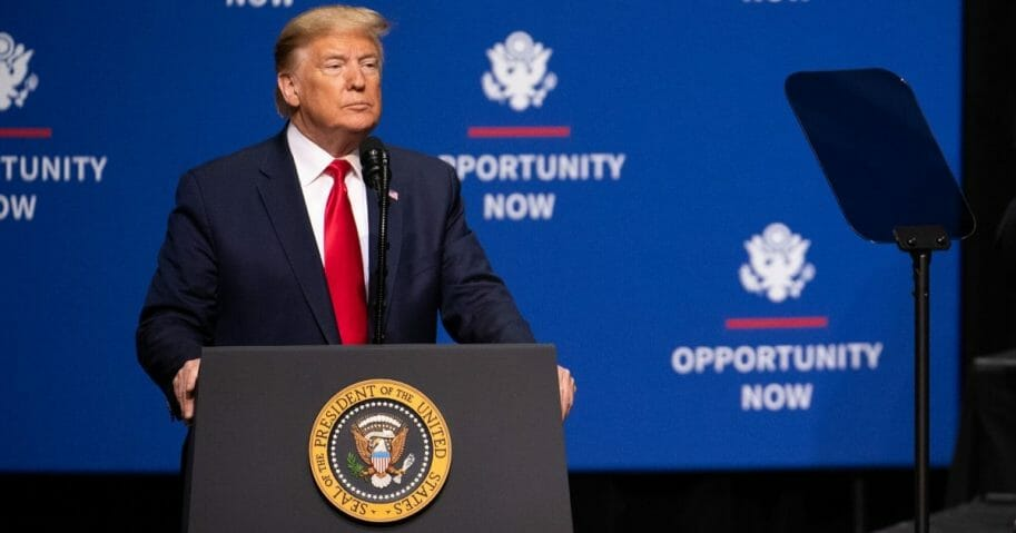 President Donald Trump addresses the crowd during the Opportunity Now summit at Central Piedmont Community College on Feb. 7, 2020 in Charlotte, North Carolina.
