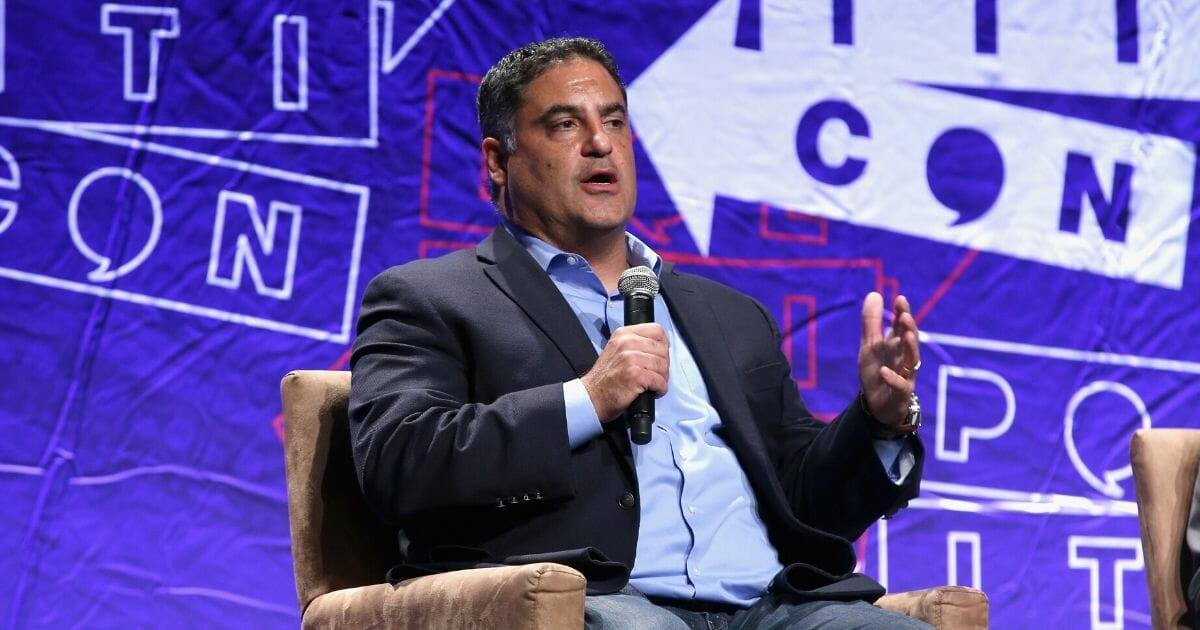 Progressive activist Cenk Uygur speaks onstage during Politicon 2018 at the Los Angeles Convention Center on Oct. 21, 2018 in Los Angeles.