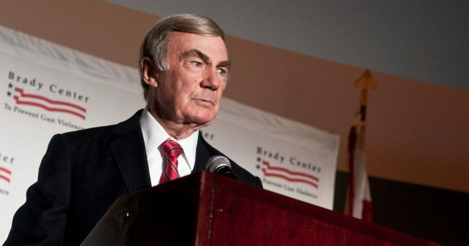 Retired veteran journalist Sam Donaldson is pictured in a file photo from 2011 speaking at a Brady Center To Prevent Gun Violence event at the Ronald Reagan Building event center in Washington.