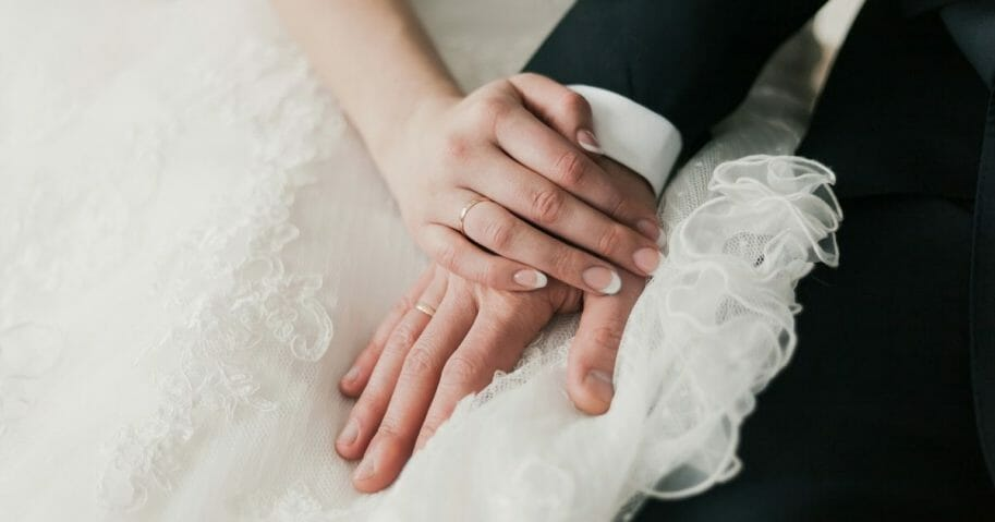 Stock image of a bride and groom.