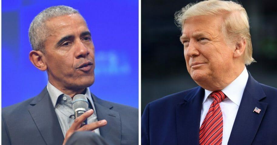 Former President Barack Obama, left; and President Donald Trump, right.