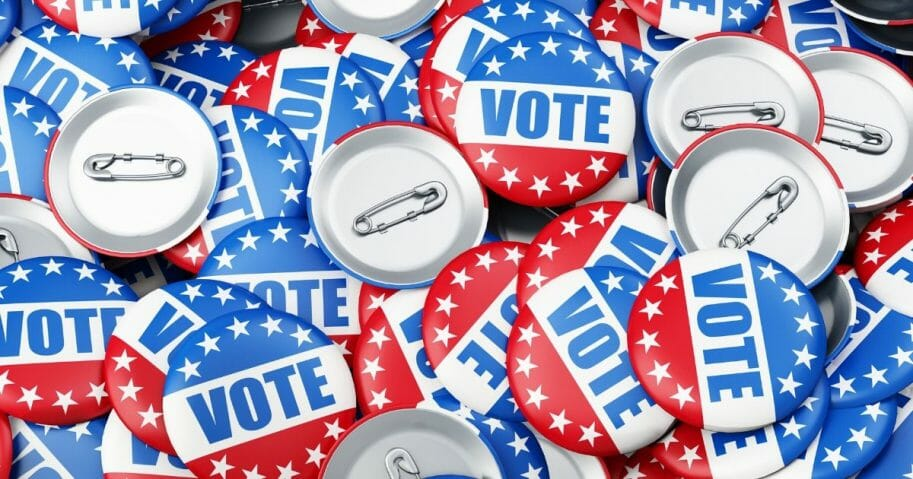 Stock image of voting pins.