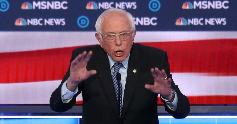 Democratic presidential candidate Sen. Bernie Sanders of Vermont speaks during the Democratic presidential primary debate at Paris Las Vegas on Feb. 19, 2020, in Las Vegas.