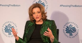 K.T. McFarland, former deputy national security advisor, is pictured in a 2017 file photo the U.S. Institute Of Peace in Washington.
