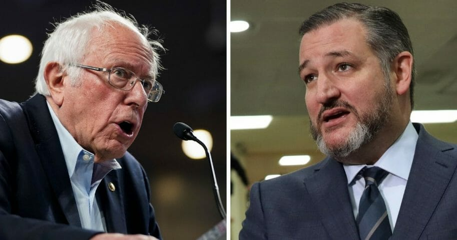 Vermont Sen. Bernie Sanders, left; and Texas Sen. Ted Cruz, right.