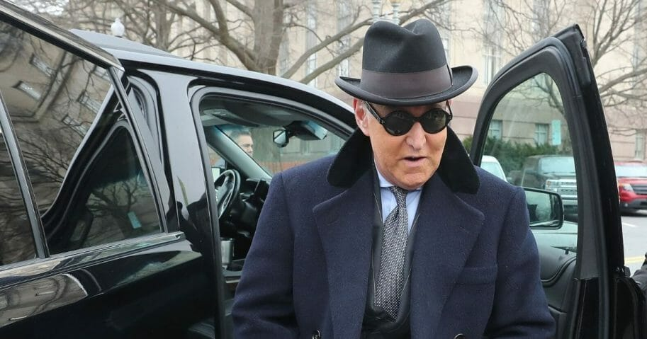 Roger Stone, a former adviser to President Donald Trump, arrives at the E. Barrett Prettyman United States Courthouse on Feb. 20, 2020, in Washington, D.C.