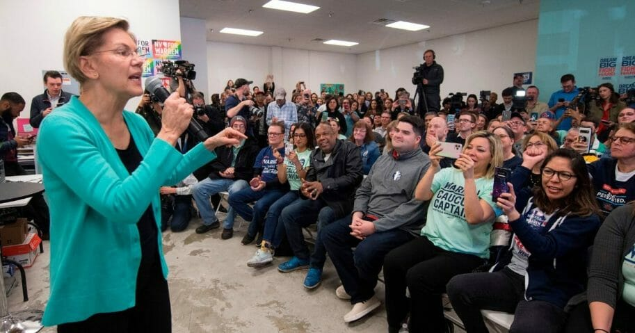 Massachusetts Sen. Elizabeth Warren addresses supporters during a visit to her field office in Las Vegas on Thursday, two days before Warren's disappointing, fourth-place finish in the Nevada caucuses.