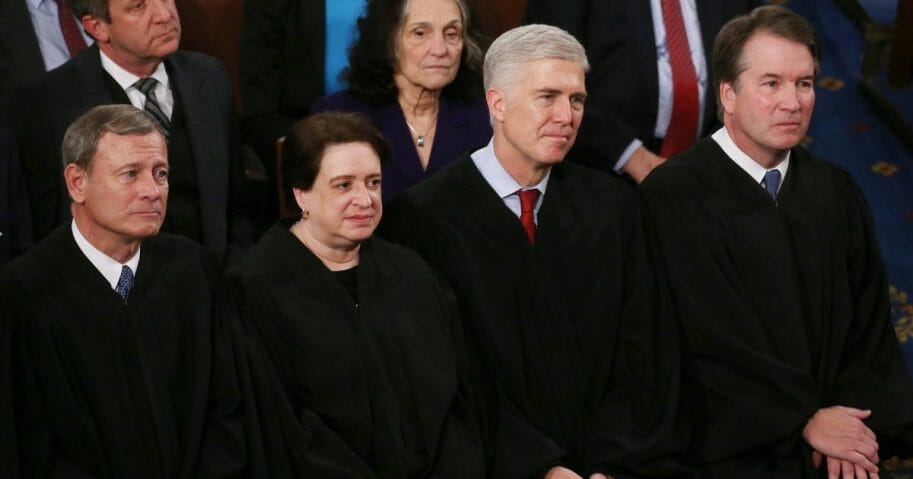 Supreme Court justices (from left to right) John Roberts, Elena Kagan, Neil Gorsuch and Brett Kavanaugh attend the State of the Union address in the chamber of the U.S. House of Representatives on Feb. 4, 2020, in Washington, D.C.