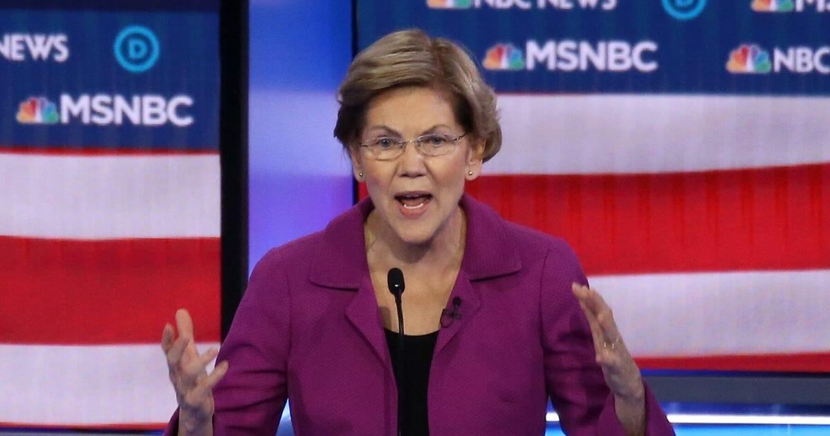 Democratic presidential candidate Sen. Elizabeth Warren of Massachusetts speaks during the Democratic presidential primary debate at Paris Las Vegas on Feb. 19, 2020 in Las Vegas.
