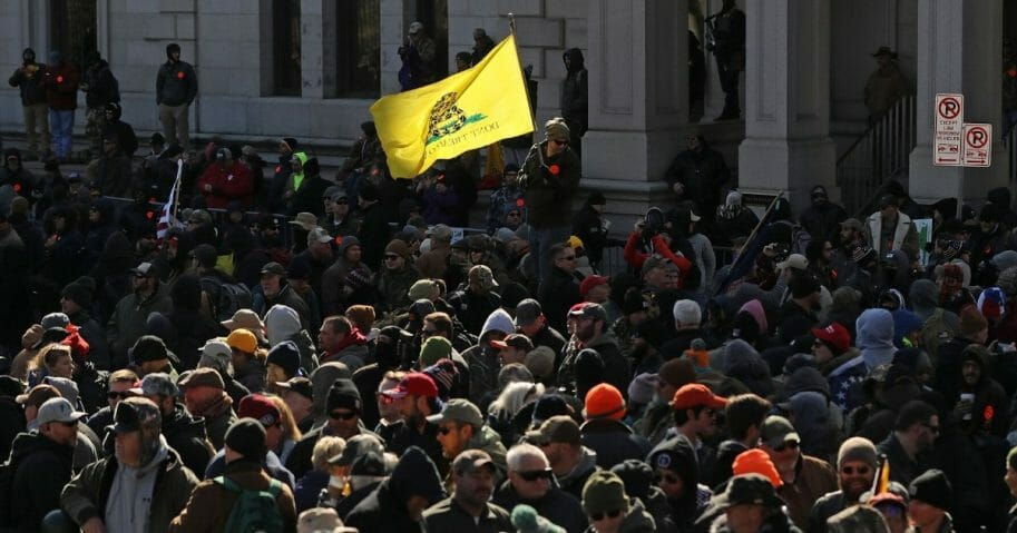 Thousands of gun rights advocates gather near the state Capitol in Richmond, Virginia, for a rally Jan. 20, 2020.