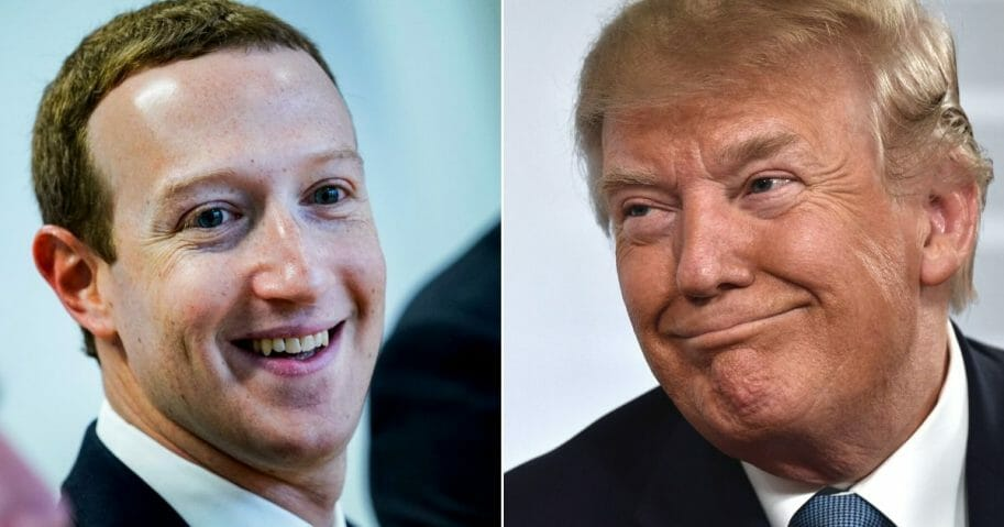 Facebook CEO Mark Zuckerberg, left, and President Donald Trump, right.