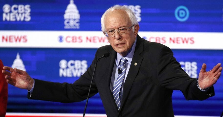 Sen. Bernie Sanders of Vermont speaks during the Democratic presidential primary debate at the Gaillard Center in Charleston, South Carolina, on Feb. 25, 2020.