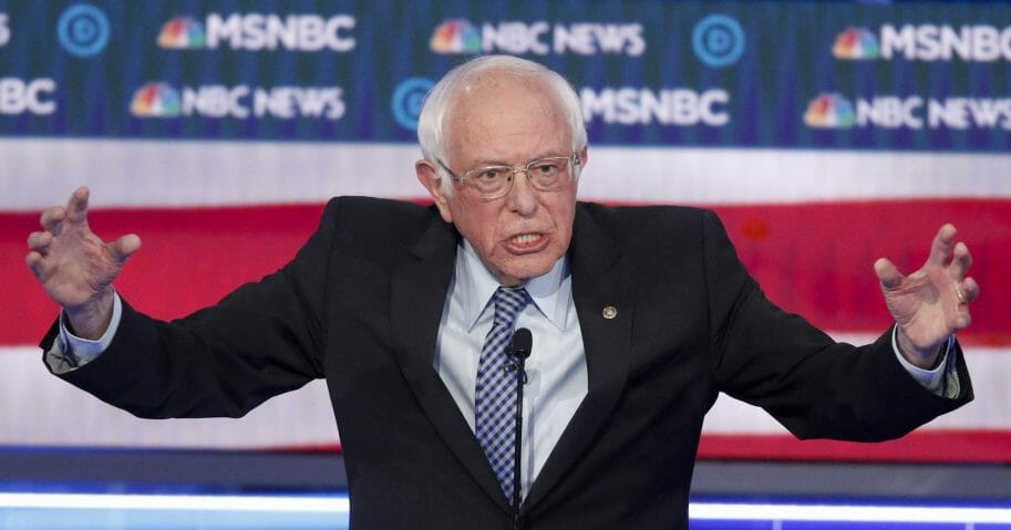 Democratic presidential candidate Sen. Bernie Sanders of Vermont speaks during a Democratic presidential primary debate on Feb. 19, 2020, in Las Vegas, hosted by NBC News and MSNBC.