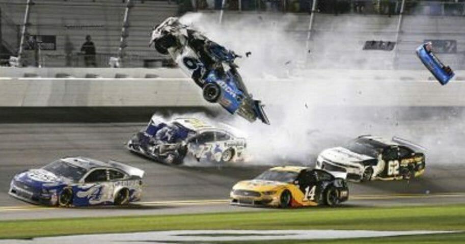 Ryan Newman's car goes airborne after a collision on the final lap Monday of the NASCAR Daytona 500 auto race at Daytona International Speedway in Daytona Beach, Fla.