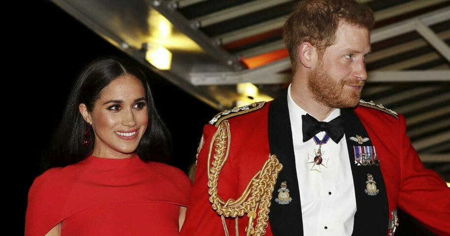 Britain's Prince Harry and wife Meghan, Dutchess of Sussex, arrive at the Royal Albert Hall in London on March 7, 2020.