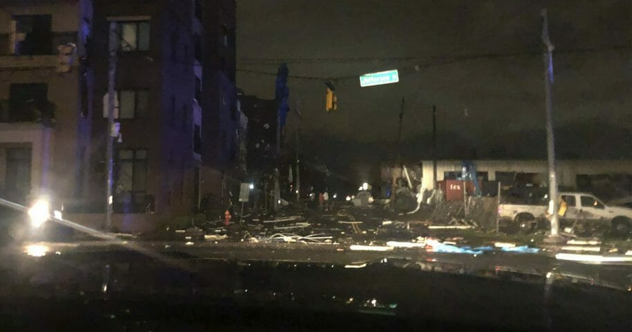 Debris is scattered across an intersection after a tornado touched down in downtown Nashville, Tennessee, March 3, 2020.