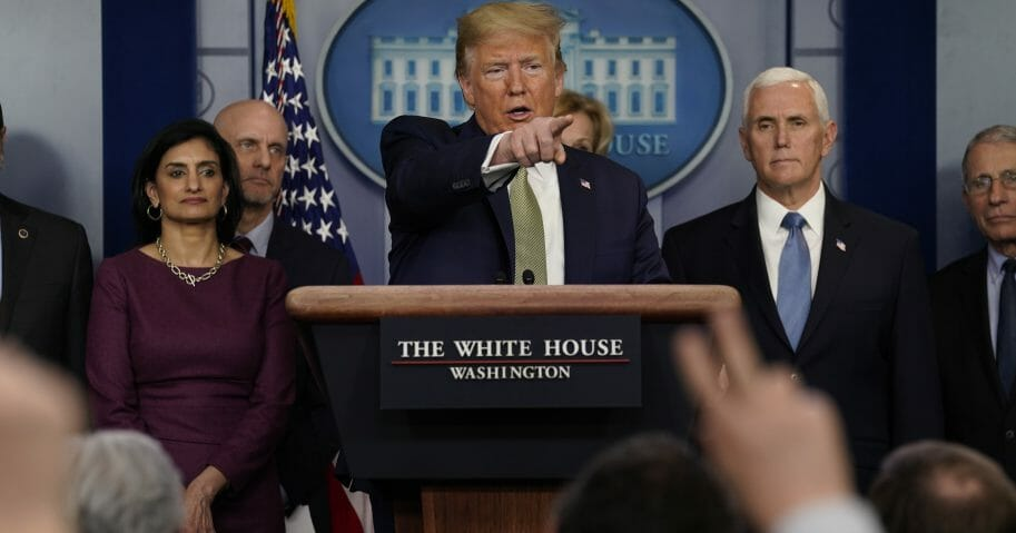 President Donald Trump speaks during a news briefing with the coronavirus task force at the White House on March 17, 2020, in Washington, D.C.