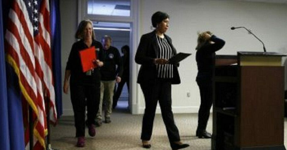 District of Columbia Mayor Muriel Bowser arrives to speak at a news conference to announce the first presumptive positive case of the coronavirus in Washington on Saturday.