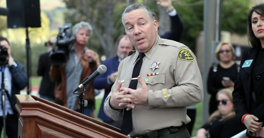 Los Angeles County Sheriff Alex Villanueva speaks at a news conference on Jan. 27, 2020, in Calabasas, California.